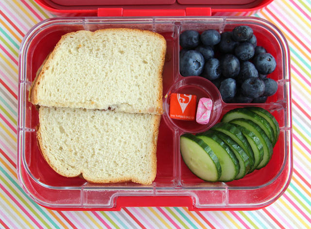 Kid's Choice Bento with Sandwich, Berries and Cucumbers