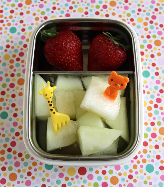 Melon, berries and bears snack