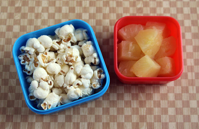 Popcorn and pineapple snack