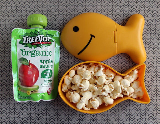 popcorn and applesauce snack