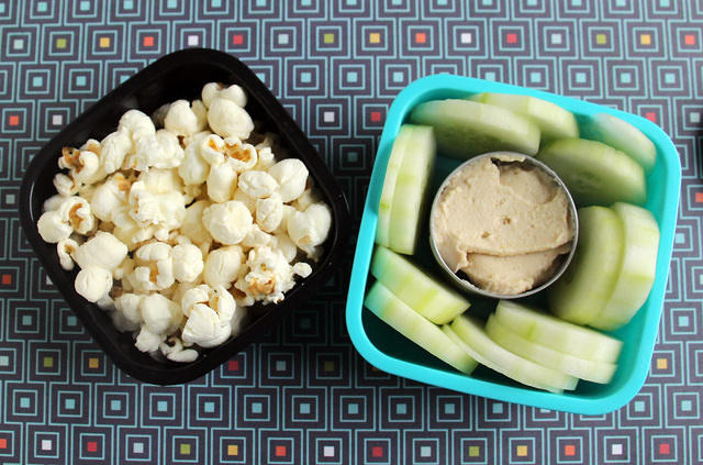popcorn and cucumber snack