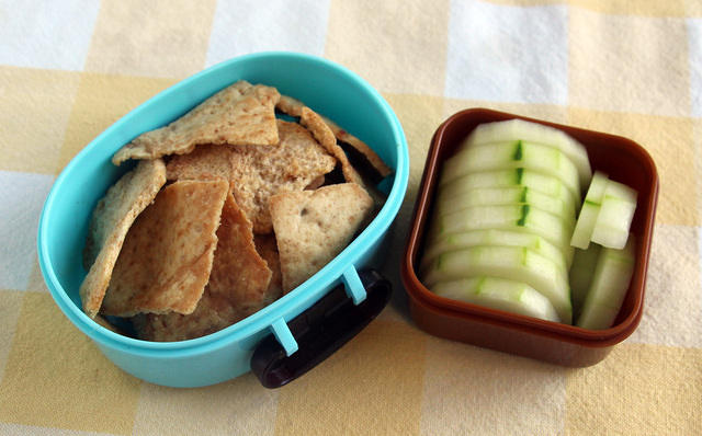 Pita chips and cukes snack
