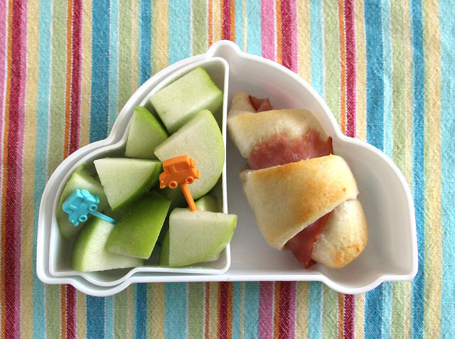 Apple and Ham Roll Car Snack