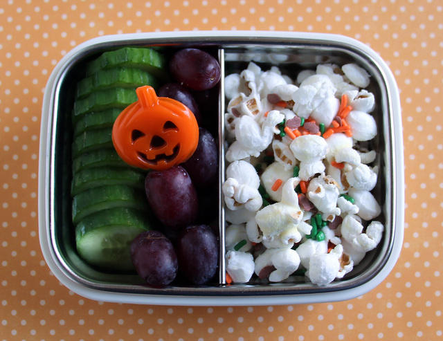 Popcorn, cukes and grapes snack