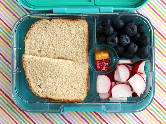 Kid's Choice Bento with Sandwich, Berries and Radishes