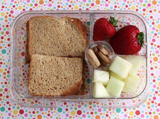 Fruit heavy SB&J lunch