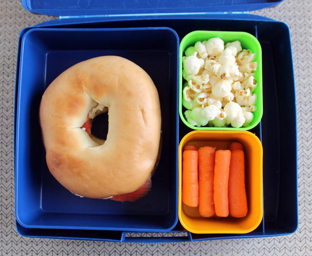 Bagel Bento in the Laptop Lunches box
