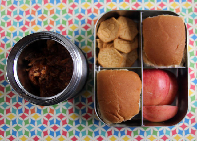 Mini BBQ sandwiches thermos lunch
