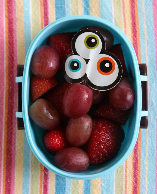Berries, grapes and eyeballs snack for kindergarten