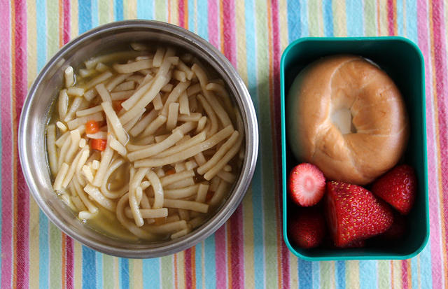 Soup and bagel lunch
